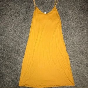 Womens H&M Yellow Spaghetti Strap Dress